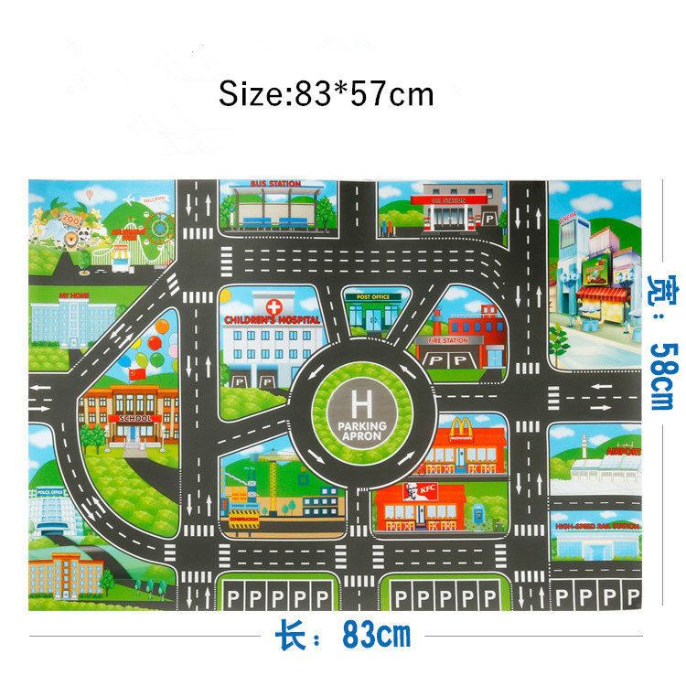 HTB1BqqrXRCw3KVjSZR0q6zcUpXaR 83*57cm/130*100CM Large City Traffic Car Park Play Mat Waterproof Non-woven Kids Playmat Pull Back Car Toys for Children's Mat