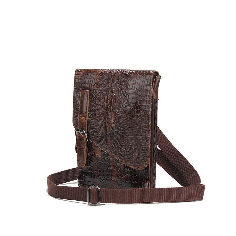100% Genuine Leather Mens Shoulder Bags Alligator Pattern Men Clutch Purse Vintage Cowhide Man Messenger Bags