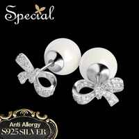 Special Brand New Fashion 925 Sterling Silver Stud Earrings Shell Beads Double Side Ear Pins Jewelry