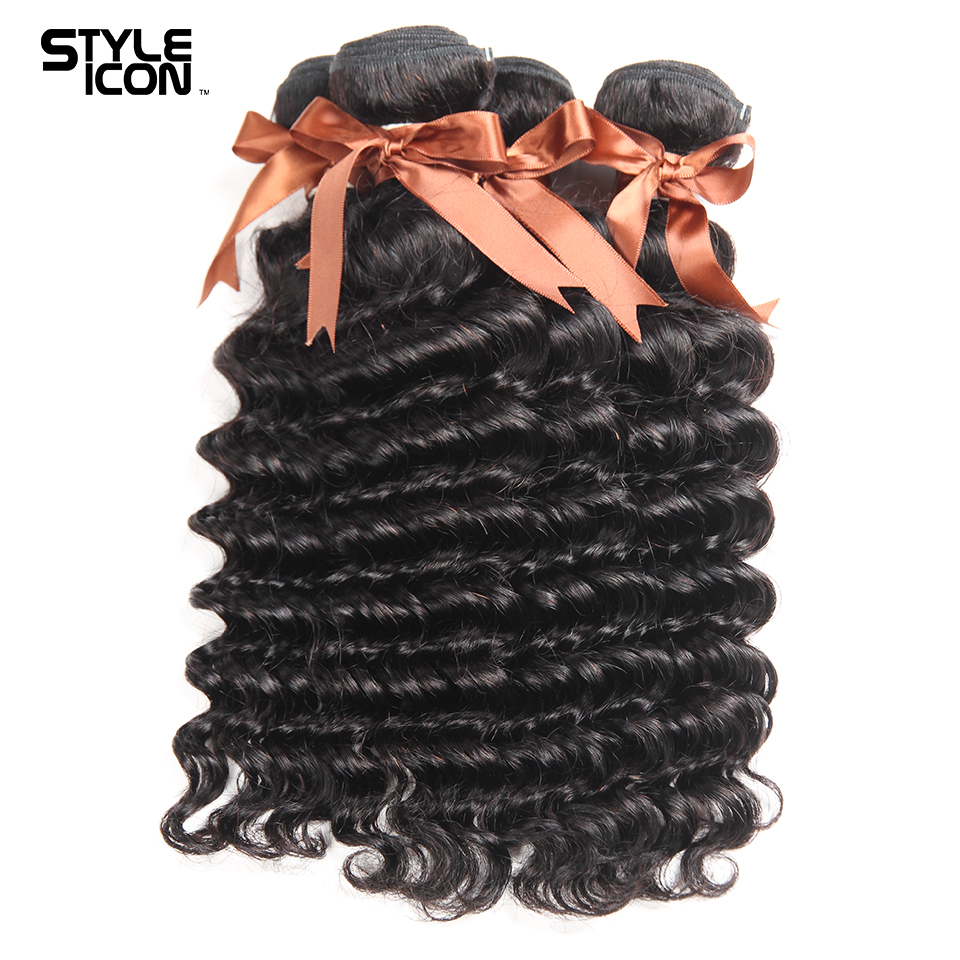 Styleicon 4 Bundles Peruvian Loose Deep Wave 100% Human Hair Weave Non Remy Hair Extensions Free Shipping