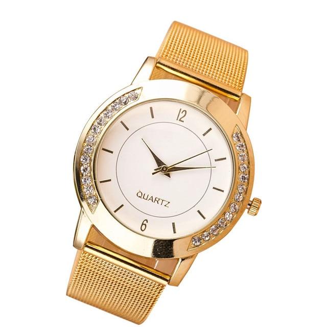 Fashion 2019 Crystal Golden Stainless Steel Analog Quartz Wrist Watch Quartz Wri