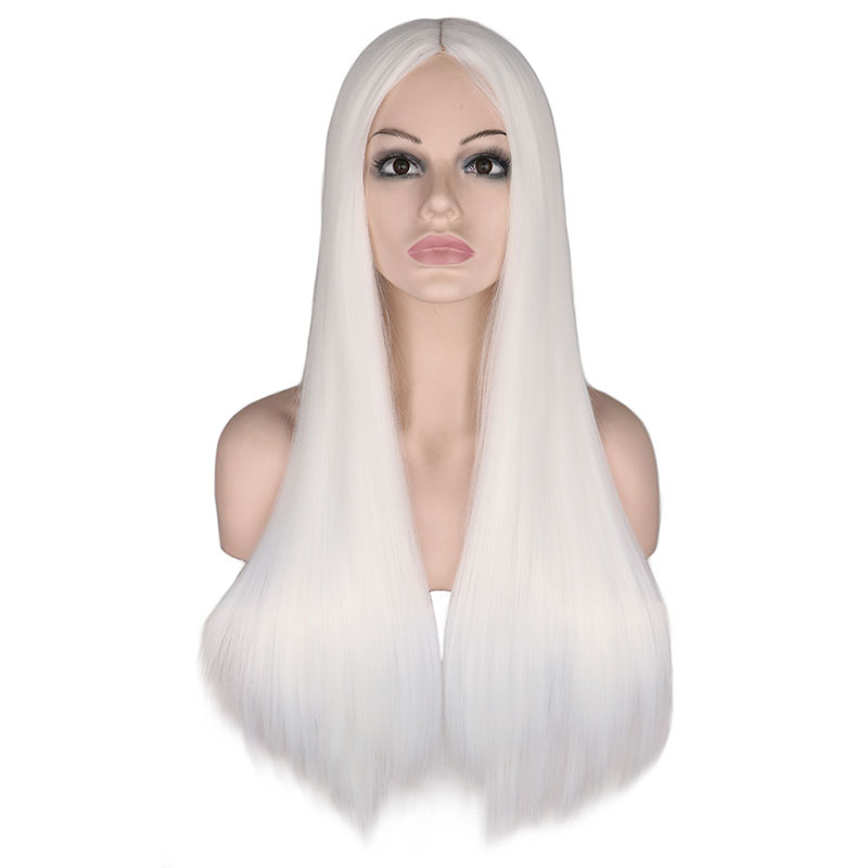 QQXCAIW Women 70 Cm Long Straight Cosplay Wig Party Sliver White  100% High Temperature Fiber Synthetic Hair Wigs