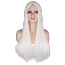 QQXCAIW Women 70 Cm Long Straight Cosplay Wig Party Sliver White 100% High Temperature Fiber Synthetic Hair Wigs(China)