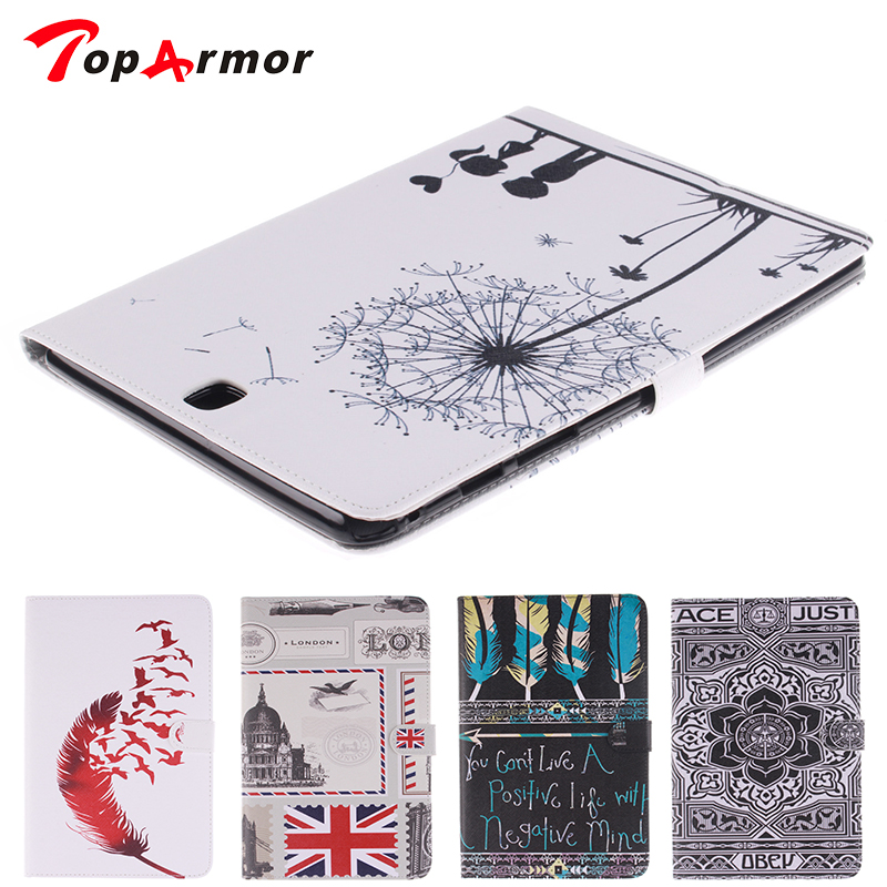 TopArmor Fashion Stand PU Leather <font><b>Case</b></font> For <font><b>Samsung</b></font> <font><b>Galaxy</b></font> <font><b>Tab</b></font> A 9.7 inch <font><b>SM</b></font> <font><b>T550</b></font> T551 T555 Beautiful Painted tablet Shell <font><b>Cover</b></font> image