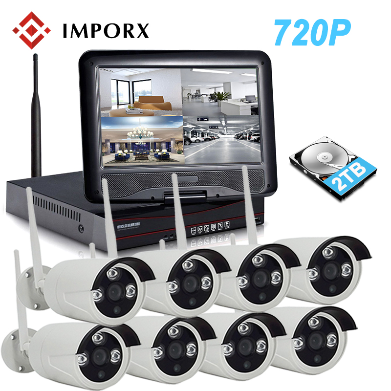 IMPORX 720P 8CH Wireless NVR Kit 10 LCD Monitor Screen 1.0MP IP Camera Outdoor P2P Wifi CCTV Security System Surveillance Kit