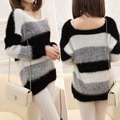 2016 Women Sweaters and Pullovers Autumn Spring Cashmere Sweater Slim O-Neck Women Knitted Striped Thicken Warm Mohair Sweater