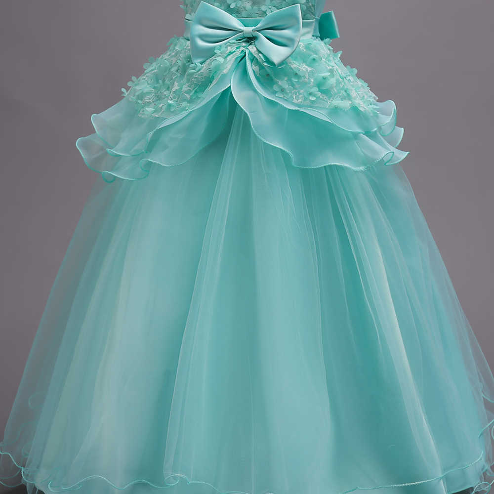 יפה מנטה ירוק פרח ילדה שמלות 2019 תחרה פרח קשת ילדים ערב שמלות כדור שמלת שמלות תחרות בנות Glitz