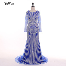 Gold Silver Pink Blue Luxury Long Sleeve Diamond Crystal Mermaid Evening Dresses 2019 Dubai Arabic Robe De Soiree YeWen