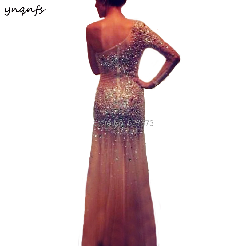 YNQNFS PD107 Sexy See-Through One Shoulder Long Sleeve Crystal   Dress   Prom Party Gown   Bridesmaid     Dresses   2019