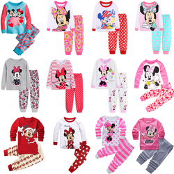 Комплекты детской одежды; одежда для сна; детский пижамный комплект с Микки и Минни Маус; пижамы для маленьких девочек; осенние пижамы