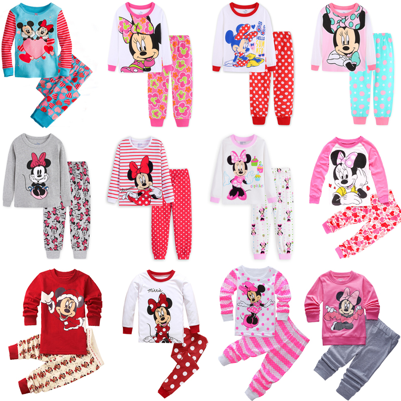 Children's Clothing   Sets   Sleepwear Clothes Kids Mickey Minnie Mouse Collection   Pajamas     Set   Baby Girls Pijamas Autumn Pyjamas