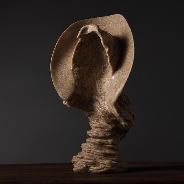 Abstract Cowboy Bust Handmade Sandstone Hunter Sculpture Portrait 3