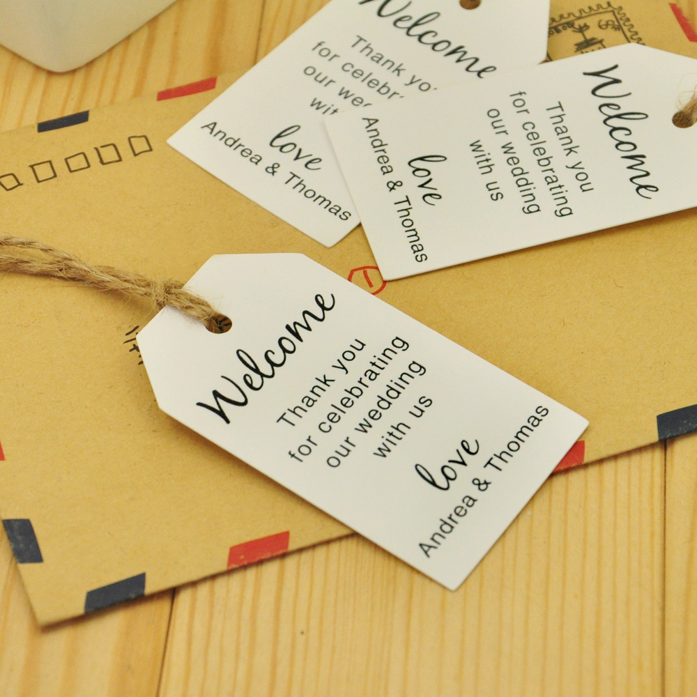 Personalized Luggage Tags Wedding Gift: 100pcs Kraft Paper, Personalized Wedding Tag, Welcome Bag