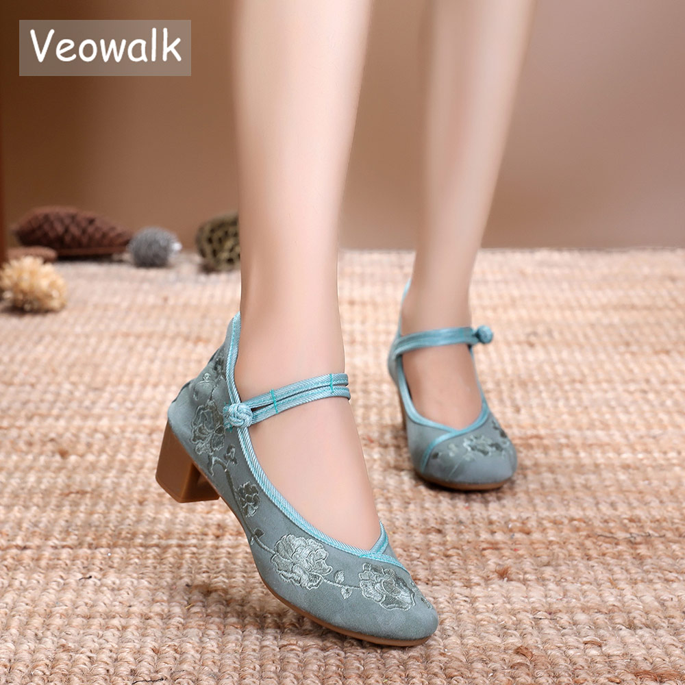 Veowalk Vintage Embroidery Women Mid Block Heel Shoes Canvas Pumps for Elegant L