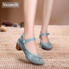 Veowalk Vintage nakış kadınlar orta blok topuk ayakkabı kanvas pompaları zarif bayanlar için kadın pamuk işlemeli çin ayakkabıları