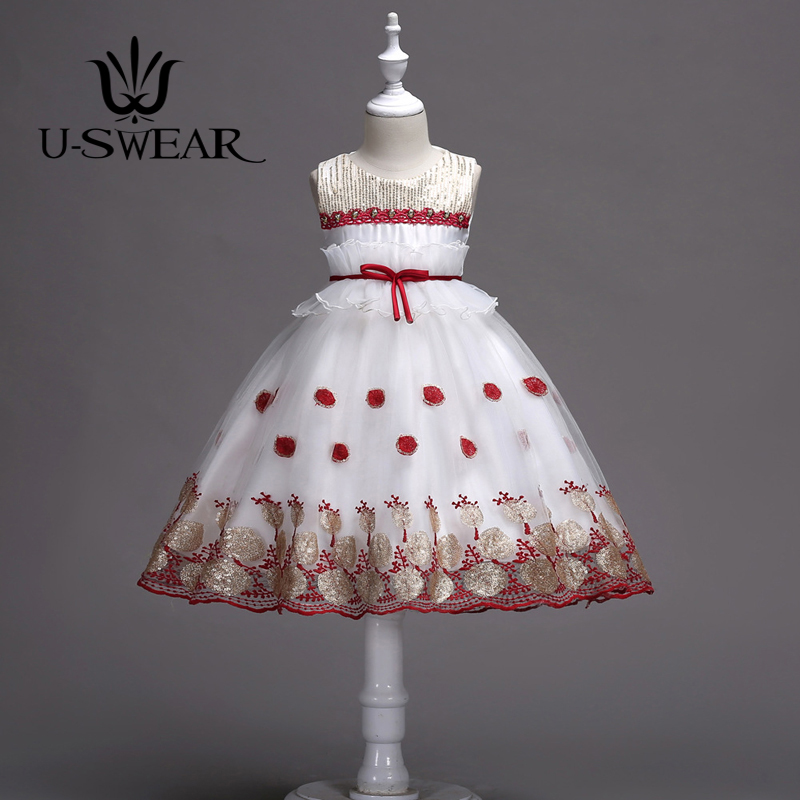 U-SWEAR 2019 New Arrival 6 Colors   Flower     Girl     Dresses   Sequined Flora Appliqued Embroidery Sleeveless Ball Gown   Dress   Vestidos