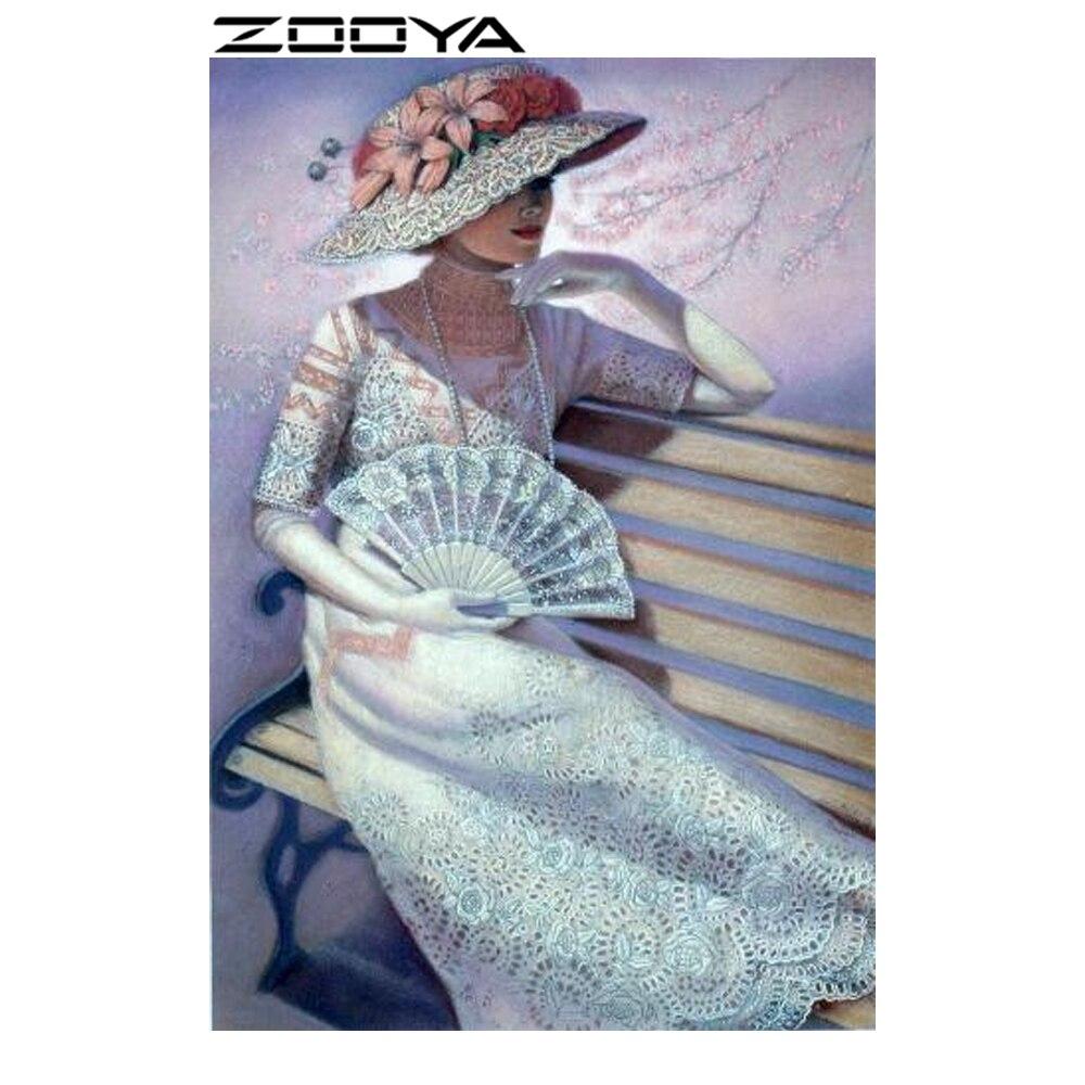 ZOOYA Diamond Painting Lady Beauty Ամբողջ ադամանդի - Արվեստ, արհեստ և կարի