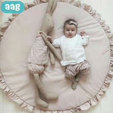 AAG Baby Game Mat Newborn Play Pad Blanket Solid Color Children Play Crawling Mats Kids Game Rugs Round Floor Carpet Decor 35 infant shining baby play mat children folding game carpet kids crawling mats anti skid tatami rugs cotton blanket for children