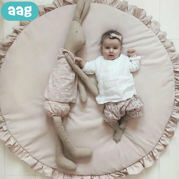 AAG Baby Game Mat Newborn Play Pad Blanket Solid Color Children Crawling Mats Kids Rugs Round Floor Carpet Decor 35