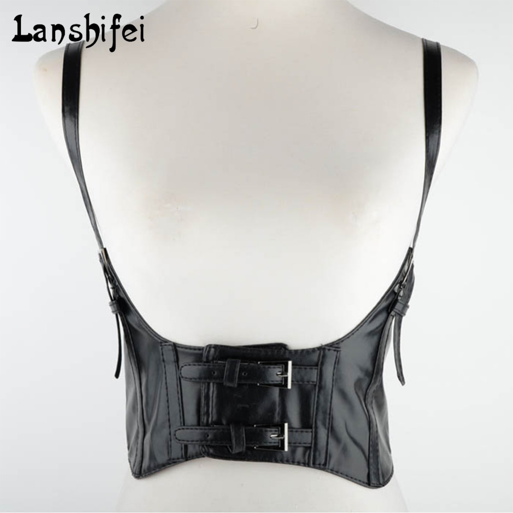 Lace Up Sexy Women Punk Black Han Edition Ultra Wide Elastic Waist Belt Leather Harness Suspenders Belt Fit For 65-75cm Waist