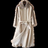 Зимняя куртка женская одежда 2018 натуральный мех пальто шерстяная куртка норковая шуба Корейский Элегантный Slim Fit кашемировое длинное пальт