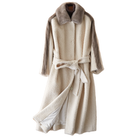Winter Jacket Women Clothes 2018 Real Fur Coat Wool Jacket Mink Fur Coat Korean Elegant Slim Fit Cashmere Long Coat ZT573
