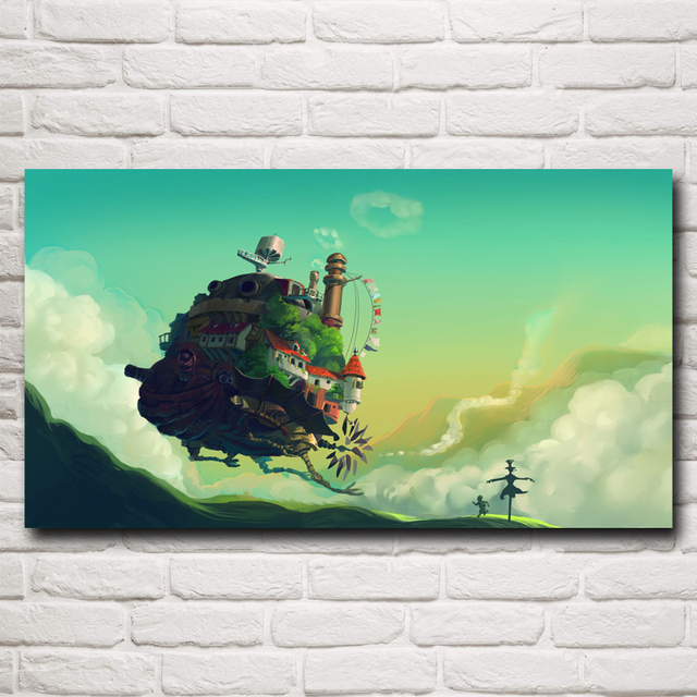 FOOCAME Hayao Miyazaki Howl's Moving Castle Anime Movie Art Silk Posters and Prints Home Decor Wall Pictures For Living Room