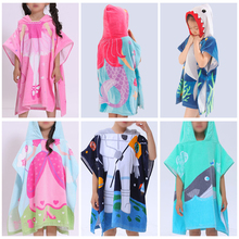 60cm Cotton Baby Boys Girls Kids Swimming Bath Cute Towel Hooded Pullover Colorful Summer Beach Poncho