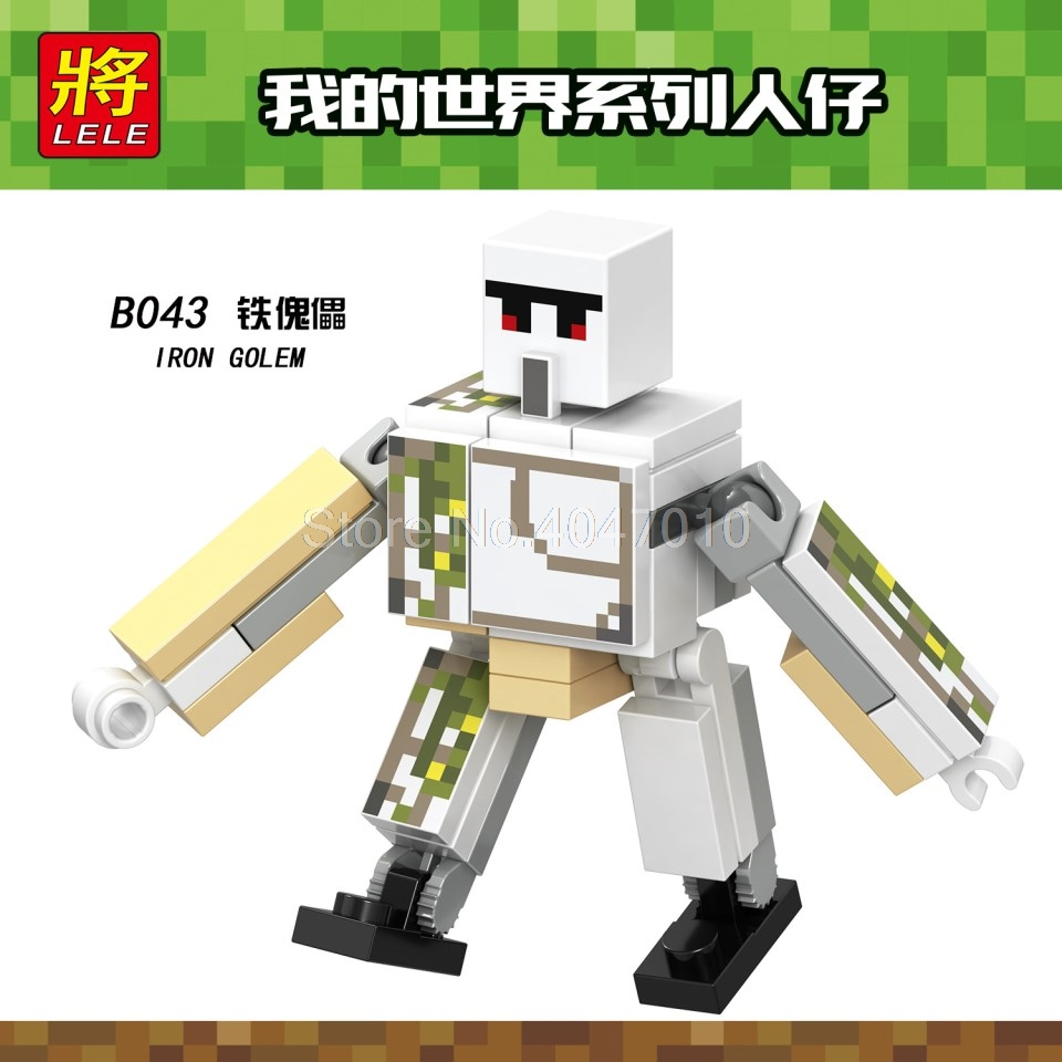 Model Building Toys & Hobbies B043 Legoing Minecraft Building Blocks Iron Golem Diy Model Toy For Children Compatible Minecraft Legoings Figures Birthday Gift Bright Luster