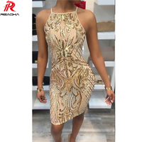 Reaqka Sexy Women Crystal Bead Sequins Dress Woman 2017 New Arrivals Halter Sleeveless Gold Sequined Club