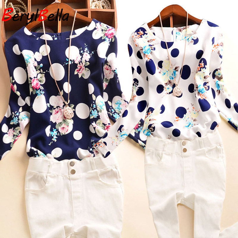 BerylBella Women 블라우스 2019 Sping Summer Women 쉬폰 Shirts Sweet Dot Slim 블라우스 긴 Sleeve Blusas Femininas 암 탑