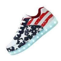 New Hot 2016 Luminous Shoes Unisex Led Glow Men Women American Flag Usb Rechargeable Light Led