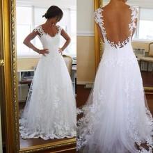 2016 White V-Neck Cap Sleeve A-Line Wedding dreses Plus Size See Through Back Lace Bridal Gown Robe Mariage Vestidos de novia