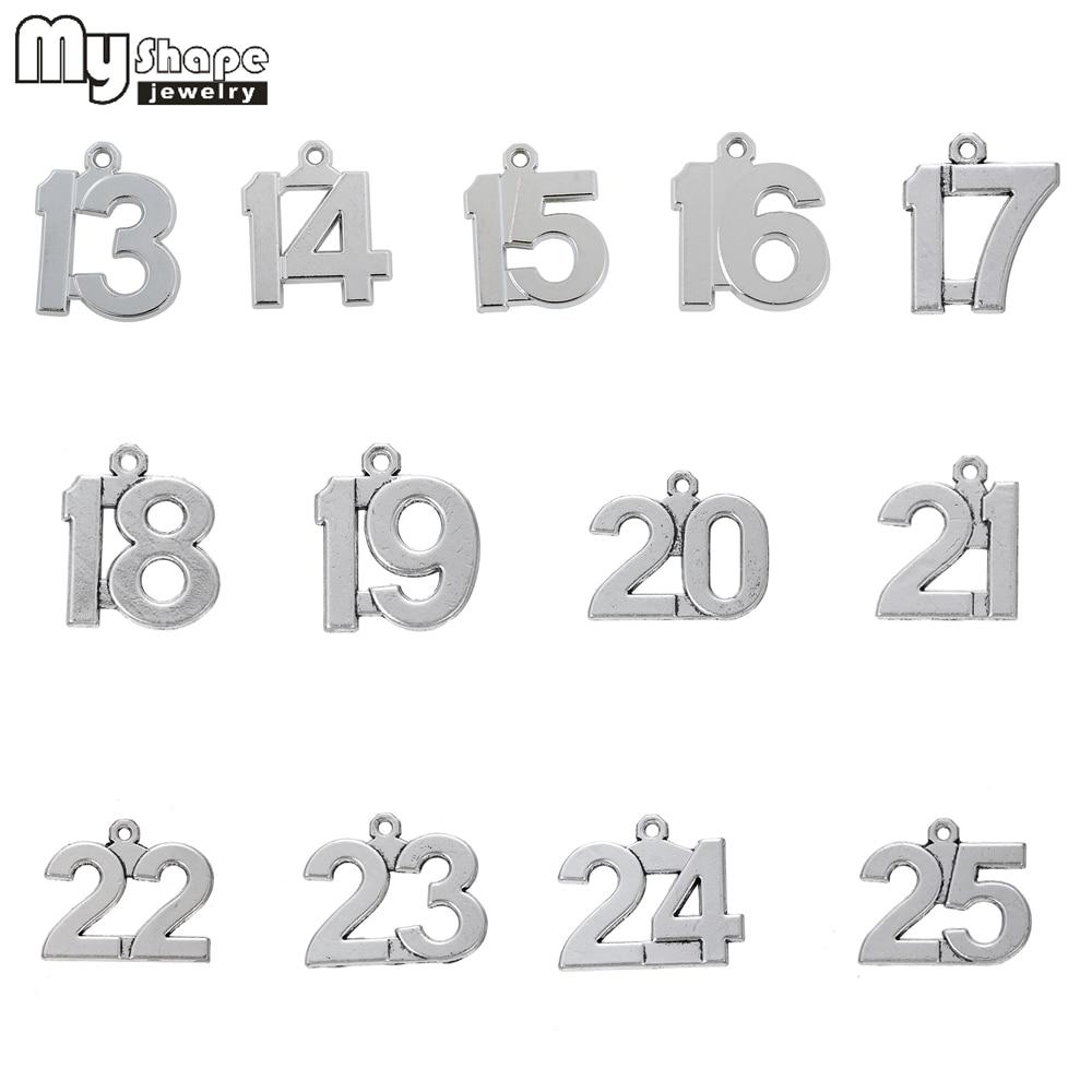 my shape 13-25 Lucky Number Birthday Charms 20pcs DIY Dangling Pendants fit Bracelet 12 14 15 16 17 18 19 20 21 22 23 24 25 mariposa en plata anillo