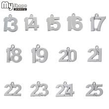 my shape 13-25 Lucky Number Birthday Charms 20pcs DIY Dangling Pendants fit Bracelet 12 14 15 16 17 18 19 20 21 22 23 24 25(China)