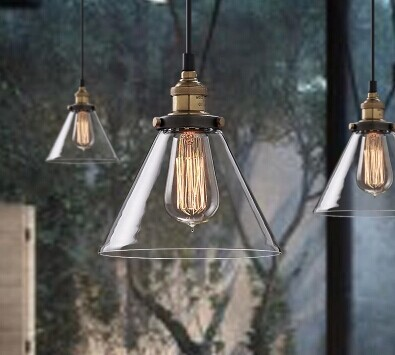 ФОТО Free shipping to EU 6pcs/lot D145mmXH230mm E27/E26 CE/UL 220V/110V edison Vintage clear glass shade industrial pendant lamp