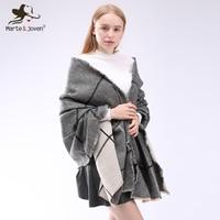 Marte Joven Classic Big Plaid Thicken Warm Women Scarves Pashmina Imitation Cashmere Blends Large Size Winter