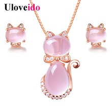 Uloveido Pink Jewelry Sets Women's Rose Gold Color Jewelry Set Cute Animal Cat Earrings and Necklace Charms Engagement 2018 Y404