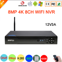 Hi3536C XMeye Surveillance Video Recorder 8MP 4K 8CH 8 Channel H.265+ one SATA Audio WIFI Onvif IP Camera CCTV NVR