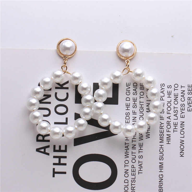 2018 new fashion jewelry elegant Bohemia style big round Imitation pearl drop earrings Handmade beaded earring for women gift