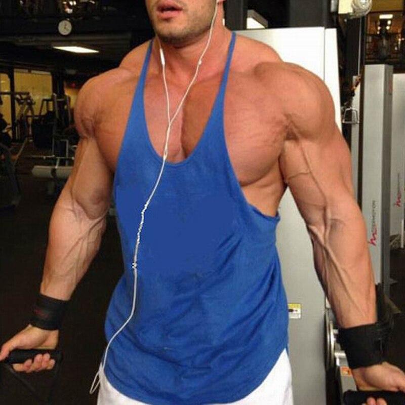 1pcs Men Gym Singlet Stringer Muscle Tank Tops Fitness Sport Shirt Y BACK Racer Mens Fitness Singlet Sleeveless running t shirts