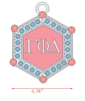 small size Gamma Phi Delta Sorority  hexagon pink blue crystal Charm