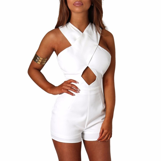 Womens Fashion Cute Sleeveless Off the Shoulder Cross White Summer Casual Slim Cute Party Playsuits Overalls Elegant Jumpsuit