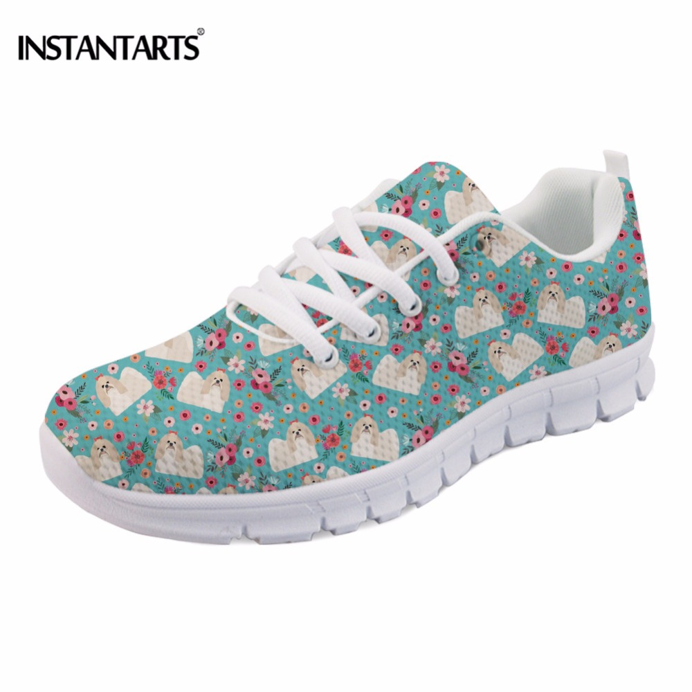 INSTANTARTS Casual Breathable Women Flat Shoes Cute Puppy Shih Tzu Flower Print Female Spring Mesh Flats Shoes Fashion Sneakers instantarts cute glasses cat kitty print women flats shoes fashion comfortable mesh shoes casual spring sneakers for teens girls