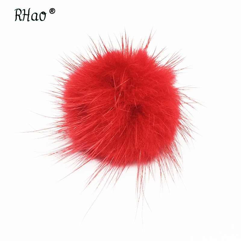 Perhiasan aksesoris pernikahan Hairball bros merah Mini Kecil Mink Bola topi bros pins wanita pria musim dingin pakaian