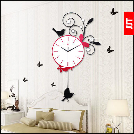 Living Room Wall Clocks Remodel Pictures High Grade Bedroom Clock Artistic Creative Pastoral Butterfly Swing Decorative