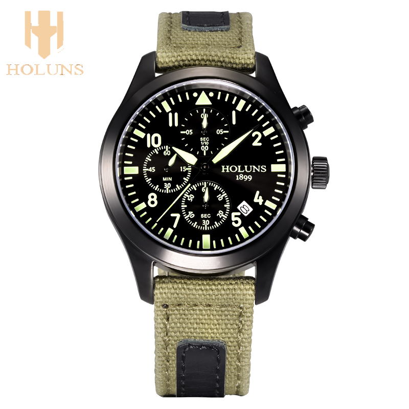 ФОТО quartz Watches Men HOLUNS Hours Function Men's Sport Watch Leather BLACK WristWatches Stainless steel Watch Montre Homme/HS003