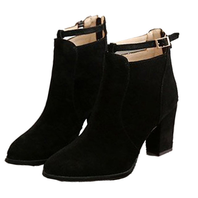 625bd4c2508 2017 New Faux Suede ankle boots fashion square toe thick heel women boots  high heel genuine leather lady boots Block Heel Shoes