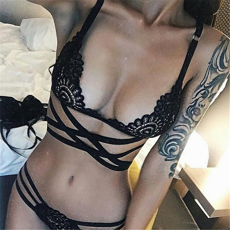 Sexy Lace   Bra   and   Brief     Set   Cross Bandage Bralette Top Hollow Out Perspective Women Thongs Erotic Underwear   Set   Sexy Lingerie