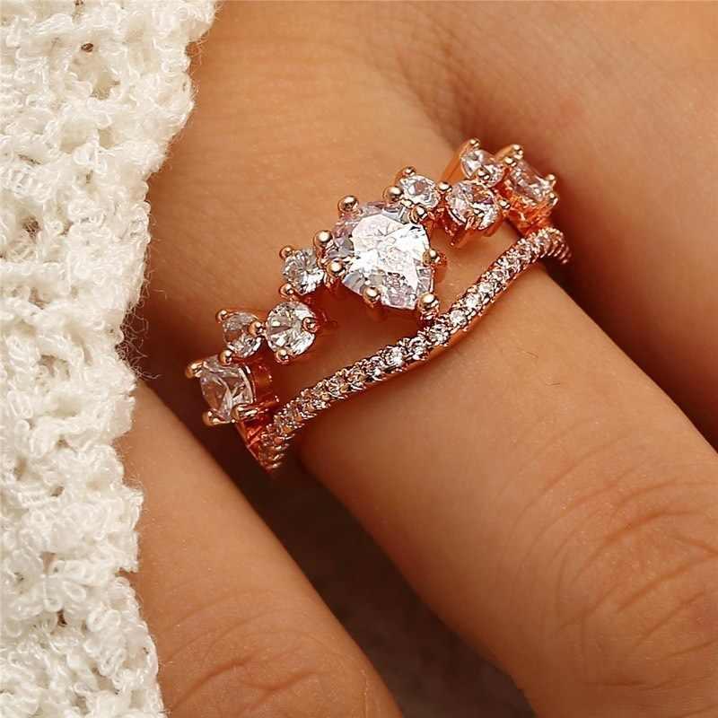 น่ารัก Boho หญิง Queen Crown แหวน Vintage 925 แหวนเงินผู้หญิง Zircon แหวนหมั้นวันวาเลนไทน์ของขวัญ